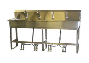 VersaKleen stainless steel floor mounted 4 station sink