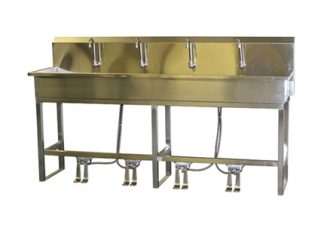 VersaKleen stainless steel floor mounted 4 station sink