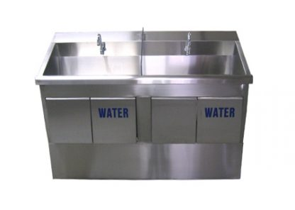 SurgiKleen stainless steel floor mounted dual bay medical scrub sink showing front view of stainless medical sink