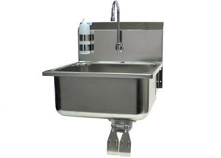 VersaKleen Stainless Steel Medical Hand Wash Sink with Soap Dispenser showing knee pedals
