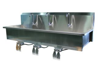 VersaKleen stainless steel wall mounted 3 station sink