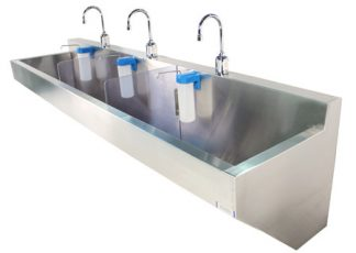 SurgiKleen wall mounted triple bay medical scrub sink