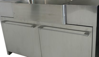 SterilKleen® Stainless Steel Custom Casework Cabinet with Sink showing front exterior detail