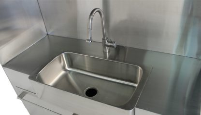 SterilKleen® Stainless Steel Custom Casework Cabinet with Sink showing sink interior detail
