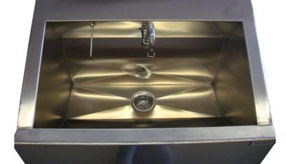SurgiKleen stainless steel floor mounted medical scrub sink showing sink interior detail