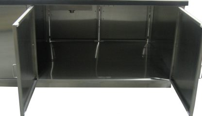 SterilKleen® Stainless Steel Laboratory Casework with Two Sinks showing interior cabinet detail