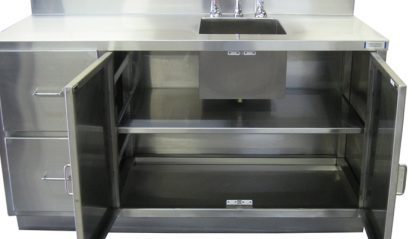 SterilKleen® Stainless Steel Laboratory Cabinet with Sink showing double cabinet doors open