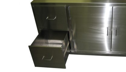 SterilKleen® Stainless Steel Laboratory Cabinet with Sink showing front with bottom drawer pulled out