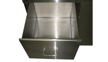 SterilKleen® Stainless Steel Laboratory Cabinet with Sink showing bottom drawer extended