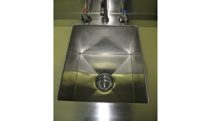 SterilKleen® Stainless Steel Laboratory Cabinet with Sink showing sink interior and drain detail