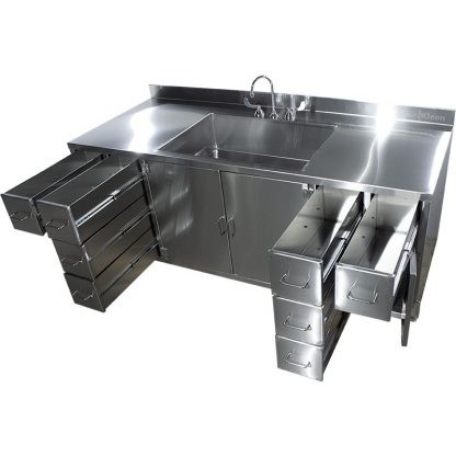 SterilKleen® Stainless Steel Multi-Storage Casework with Sink showing interior of middle cabinet and drawers extended