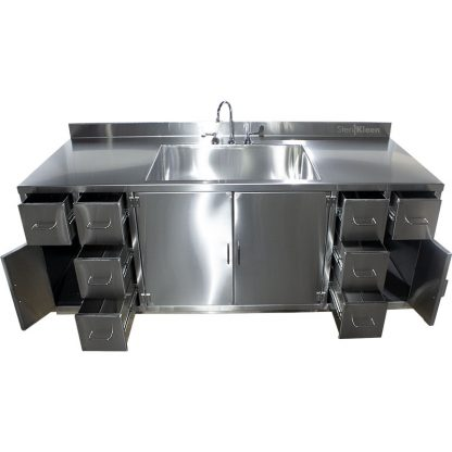 SterilKleen® Stainless Steel Multi-Storage Casework with Sink showing drawers extended