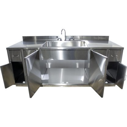 SterilKleen® Stainless Steel Multi-Storage Casework with Sink showing interior of middle cabinet