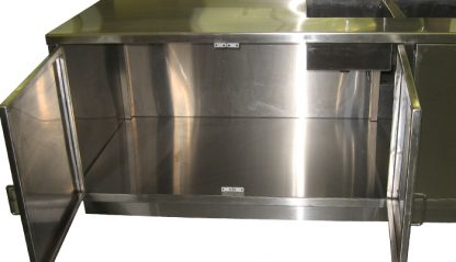SterilKleen® Stainless Steel Pharmaceutical Casework with Two Sinks showing interior detail through open cabinet doors