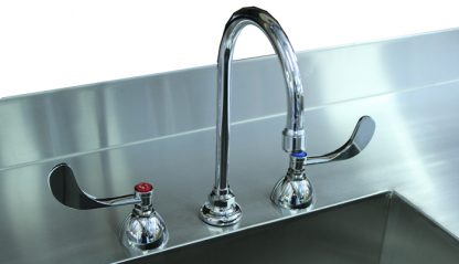 SterilKleen® Stainless Steel Cleanroom Casework with Two Sinks showing goose neck faucet with wing handles detail