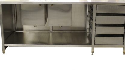 SterilKleen® Stainless Steel Cleanroom Casework with Two Sinks showing interior detail and sink basins from inside