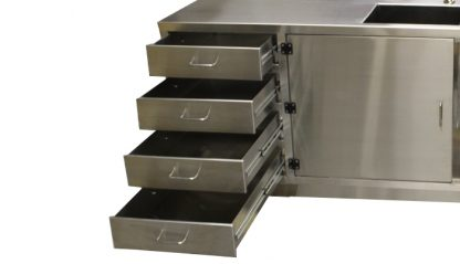 SterilKleen® Stainless Steel Cleanroom Casework with Two Sinks showing four drawers extended