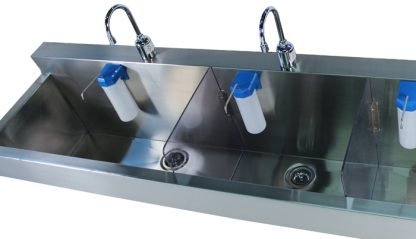 SurgiKleen stainless steel wall mounted medical scrub sink with 3 bays view from top