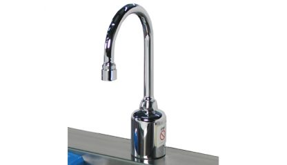 SurgiKleen stainless steel wall mounted medical scrub sink with 3 bays faucet detail view