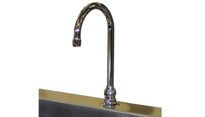 SurgiKleen® Stainless Steel Wall Mount Two Bay Sink showing faucet detail