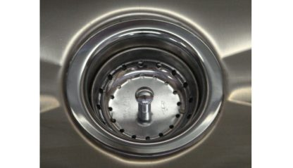 SurgiKleen® Stainless Steel Wall Mount Two Bay Sink showing drain detail
