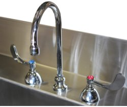 SurgiKleen® Stainless Steel Laboratory Sink Table goose neck faucet with wing handles detail