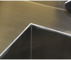 SurgiKleen® Stainless Steel Laboratory Sink Table seamless welds detail for sink basin