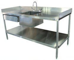 SurgiKleen® Stainless Steel Laboratory Sink Table with sink, undershelf, and storage drawer