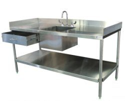 SurgiKleen® Stainless Steel Laboratory Sink Table with sink and undershelf, showing drawer extended storage drawer