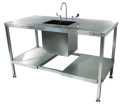 SurgiKleen® Stainless Steel Deep Laboratory Sink Table with one sink, undershelf with cutout for plumbing, and freestanding