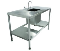SurgiKleen® Stainless Steel Laboratory Sink Table with deep sink basin and floor plumbing cutout