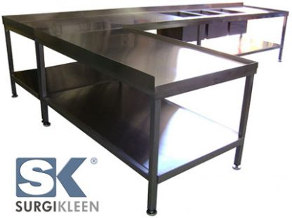 SurgiKleen® Stainless Steel L-Shaped Laboratory Table shown with Three Sinks