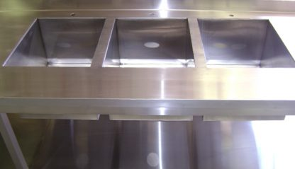 SurgiKleen® Stainless Steel L-Shaped Laboratory Table sinks detail
