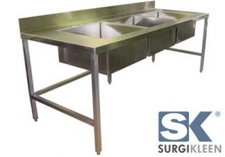 SurgiKleen® Stainless Steel Laboratory Sink Table with 3 sinks shown with SurgiKleen logo