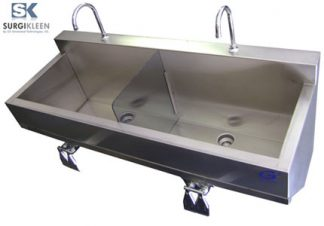 SurgiKleen® Stainless Steel Laboratory Dual Bay Wall Mount Containment Sink Side View