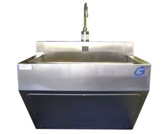SurgiKleen® Stainless Steel Laboratory Single Bay Wall Mount Containment Sink Front View