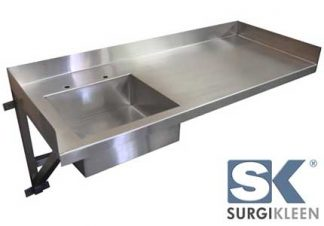 SurgiKleen® Stainless Steel Wall Mounted Laboratory Sink Table with SurgiKleen logo