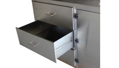 SterilKleen® Stainless Steel Laboratory Casework Cabinet with Sink drawer extended
