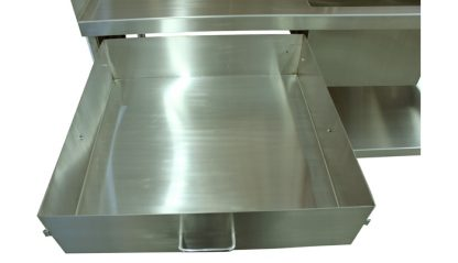 SurgiKleen® Stainless Steel Laboratory Sink Table with sink and undershelf, showing drawer extended storage drawer detail