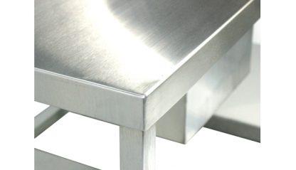 SurgiKleen® Stainless Steel Deep Laboratory Sink Table with one sink, split undershelf showing corner welds