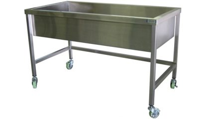 SurgiKleen® Stainless Steel Trough Sink shown with optional locking casters