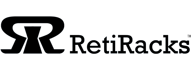 RetiRacks™ logo for https://www.retiracks.com reticle racks and wafer handling products web site in black for site link