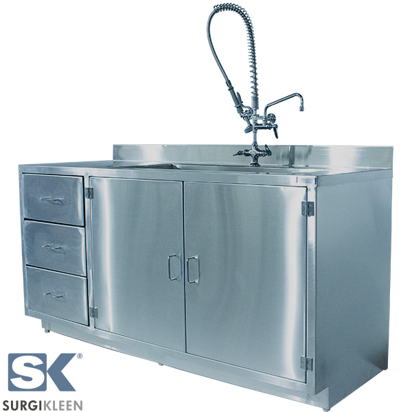 SurgiKleen Stainless Steel Cabinet with Sink and extended reach pre-rinse faucet front right view