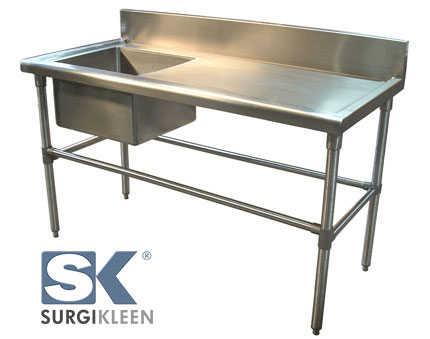 SurgiKleen® stainless steel table with sink shown with SurgiKleen logo